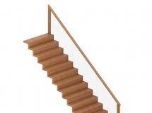 3D楼梯模型  现代实木直线型楼梯模型下载