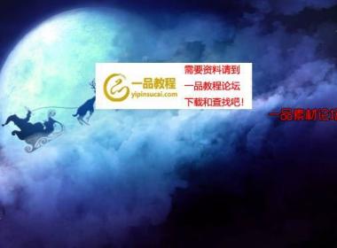 在夜晚云层中奔跑着的麋鹿和圣诞老人循环视频素材