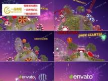 三维游乐场/马戏团星球的标志开场动画AE模板