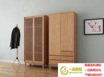 北欧实木衣柜挂衣架装饰画衣柜模型