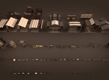未来机械工厂场景3D模型 Kitbash3D Props – Machinery (C4D/MAX/Maya/OBJ/FBX/Blender ...