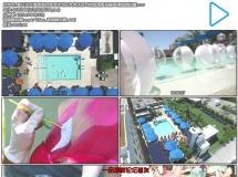 夏日炎炎海滩酒店屋顶泳池狂欢休闲派对俯视角度拍摄高清视频拍摄