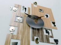 3D钟表挂件 个性木纹数字钟表3D模型 下载