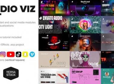 时尚科技感音乐波形播放器动画 Audio Visualization Social Media Kit