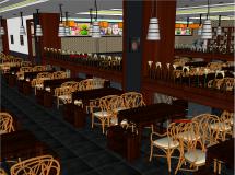 中式餐厅室内设计超精细模型-15M草图大师su模型