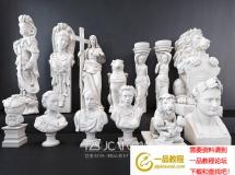 3D摆件模型  欧式人物石膏雕塑组合3D模型下载