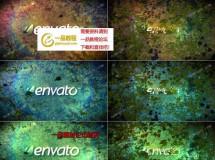 在绿色藤条植物中隐蔽的logo标志AE模板,3色入