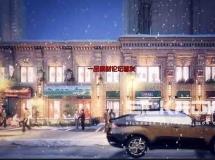 商业街夜景雪景3D动画场景