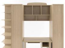 3D衣柜模型  木纹多功能组合柜带电脑桌3D模型下载