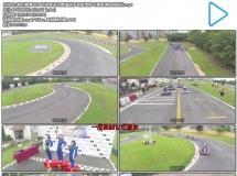 激烈赛事卡丁车体育运动赛道选手驾驶漂移车赛高清视频航拍