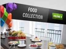 CGAxis模型第8卷包含各种食物模型(鸡肉,蛋糕,汤,面包,比萨饼,饮料等等