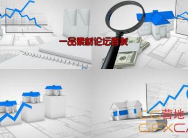 房地产房价信息放大镜钞票高清视频素材 VideoHive Real Estate