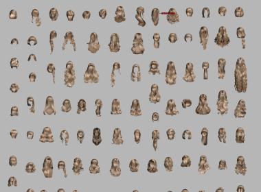 maya头发模型库500个现代女性人头发型高精度带贴图3dmax