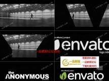 人物走路剪影的标志揭示动画AE模板