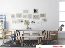 3D桌椅模型  现代餐厅组合下载