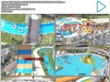 夏日清爽活动水上乐园玩水游乐设施休闲娱乐游乐园高清视频航拍