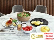 餐桌餐具水果食物3Dmax模型下载