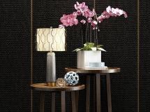 3D茶几模型  新中式圆几台灯花瓶花卉下载