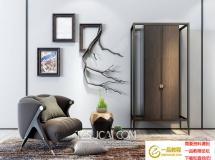 3D家具模型  北欧单人沙发边柜3D模型下载