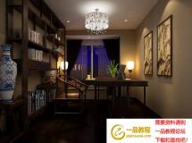 3D书房模型  中式传统书房效果图模型下载