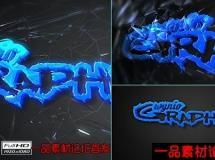 冲破玻璃的logo演绎动画AE模版,Through Glass Logo,包含配乐