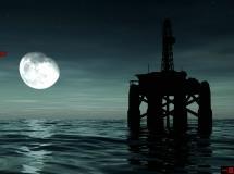 夜晚海面上的钻井平台高清实拍视频素材