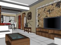 新中式家装四室两厅-6M草图大师su模型