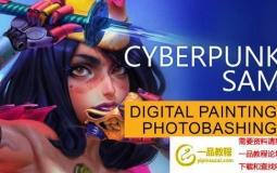 赛博朋克卡通人物PS绘画教程 Artstation – Cyberpunk Sam – From Sketch to Final