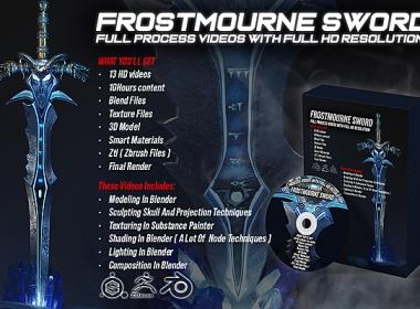 Blender+Zbrush宝剑建模材质渲染教程 Artstation – Frostmourne Sword Full Process