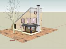 小型别墅整体模型4-1M草图大师su模型