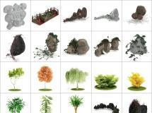 100个精品园林景观模型 -一品素材单体模型库下载