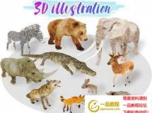 非洲动画低多边形3D模型 Cubebrush – Africa Animal Illustration Animated Part 1