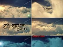 模拟电影大片穿越云层的天堂标志开场AE模板,2版入
