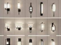 新中式创意壁灯组合 中式灯具3D模型