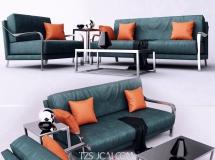 3D办公桌椅   后现代办公沙发茶几组合模型下载