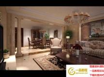 欧式复古客厅模型