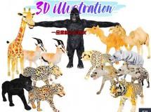 Cubebrush – Africa Animal Illustration Animated Part 2