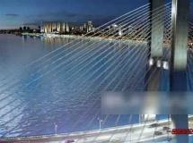 跨海大桥夜景3D动画场景