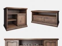 3D条柜模型 美式实木电视柜3D模型