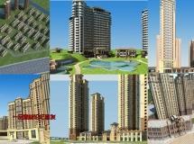 15套完整的建筑模型包含了贴图地形周边环境