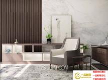 3D家具模型 新中式边柜休闲沙发 3D模型下载