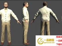 穿白针织衫的中年男人 高品质人物CG模型