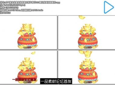 大气聚宝盆黄金掉落喜庆新年春节LED舞台背景视频素材