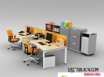 3D办公桌椅   后现代电脑桌椅卡座3D模型下载