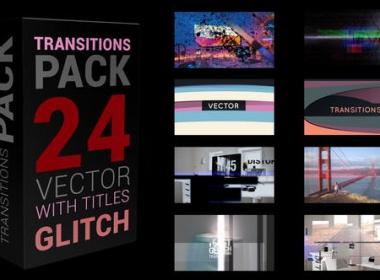 信号损坏噪波视频转场 Glitch Transitions Pack 4K