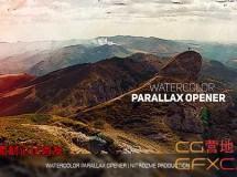 水墨晕染手绘风格图片视频展示片头 Watercolor Parallax Opener