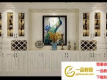 3D柜子模型  欧式实木酒柜模型 花瓶3D模型高品质 3D模型下载