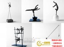 3D装饰模型  金属小人摆件下载