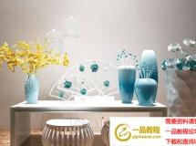 中式陶瓷花瓶鸟笼吊灯摆件组合3DMAX模型 陈设摆件