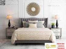 美式双人床床头柜挂件 床铺及床上用品 高品质模型下载